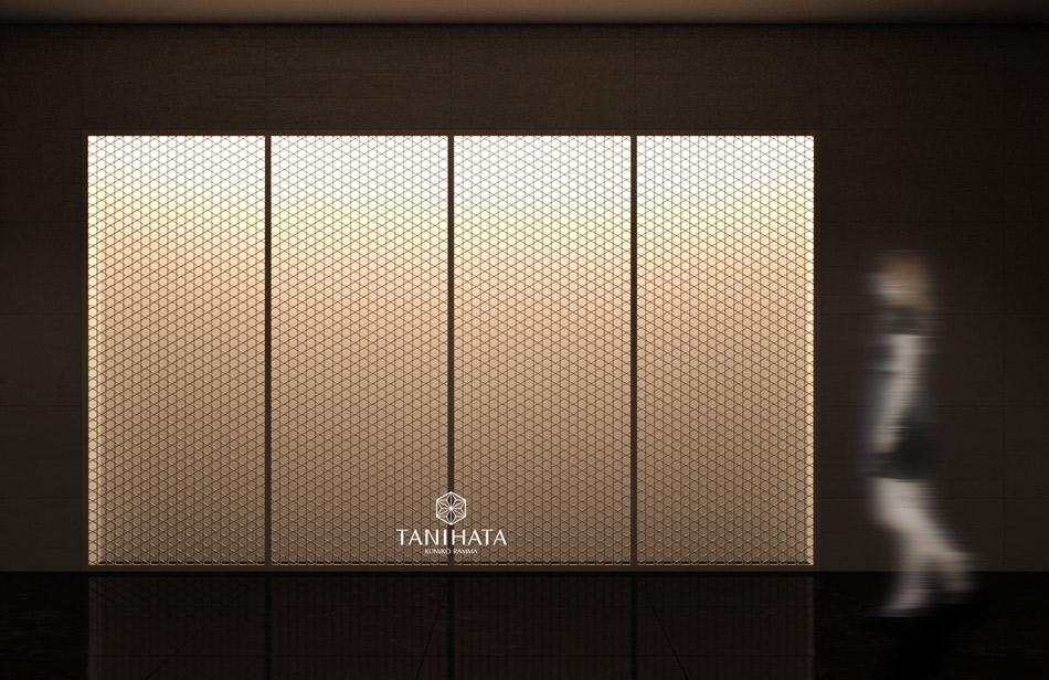 籠目ベタ入 光影 店舗用 和風間仕切り 装飾 和室 組子欄間 タニハタ
