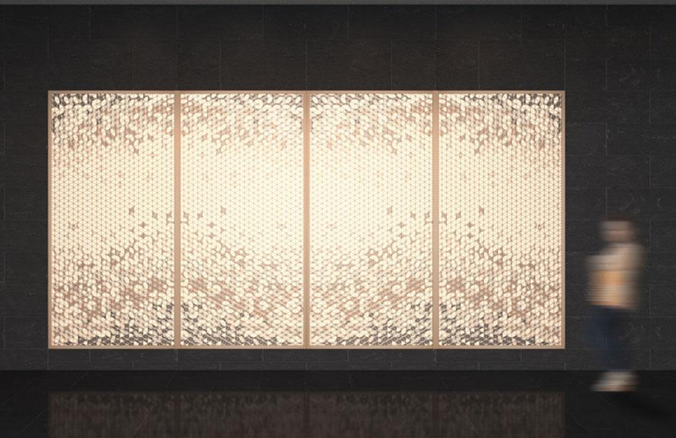 麻の葉ちらし 花かすみ AC-104-TA 組子 インテリア 装飾