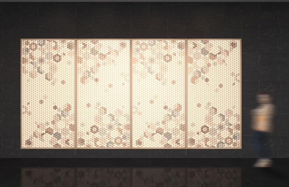 麻の葉ちらし 桜ぼんぼり タニハタ AC-114-TA 組子 インテリアCG