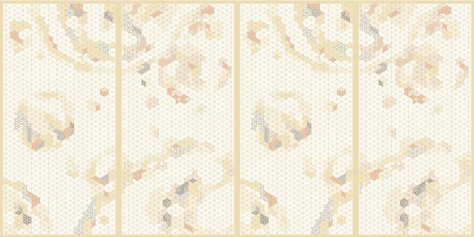 麻の葉ちらし 地動 タニハタ AC-118-TA 組子4枚設置例