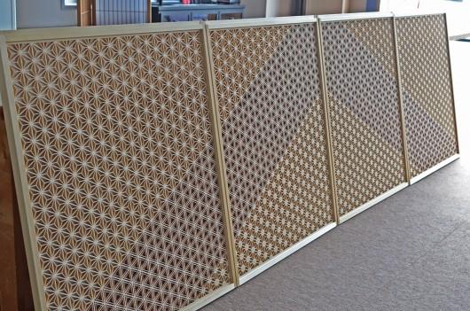 組子欄間「三種組分柄」 店舗装飾、壁面装飾