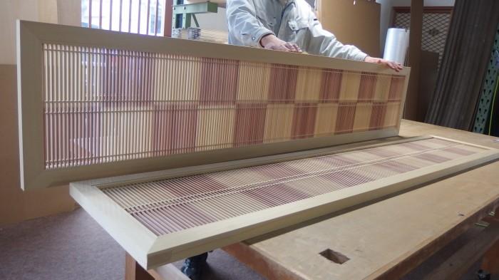 市松模様 組子欄間 木製